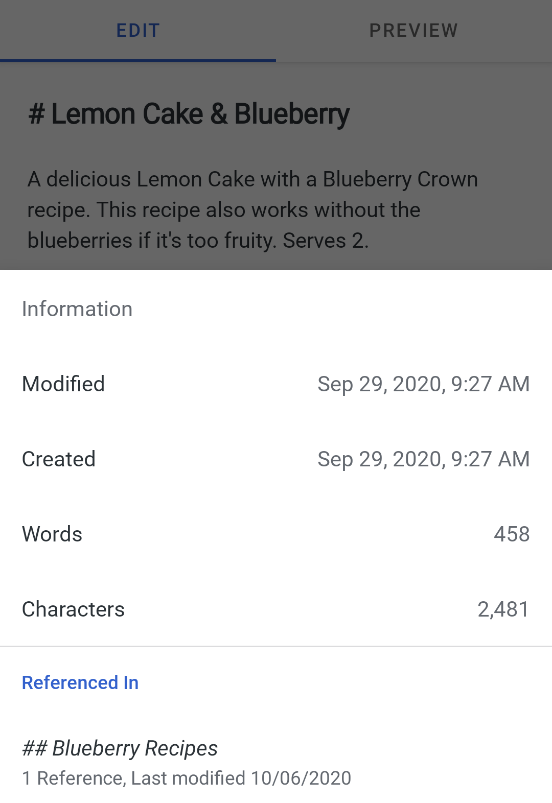 Note references on Simplenote Android