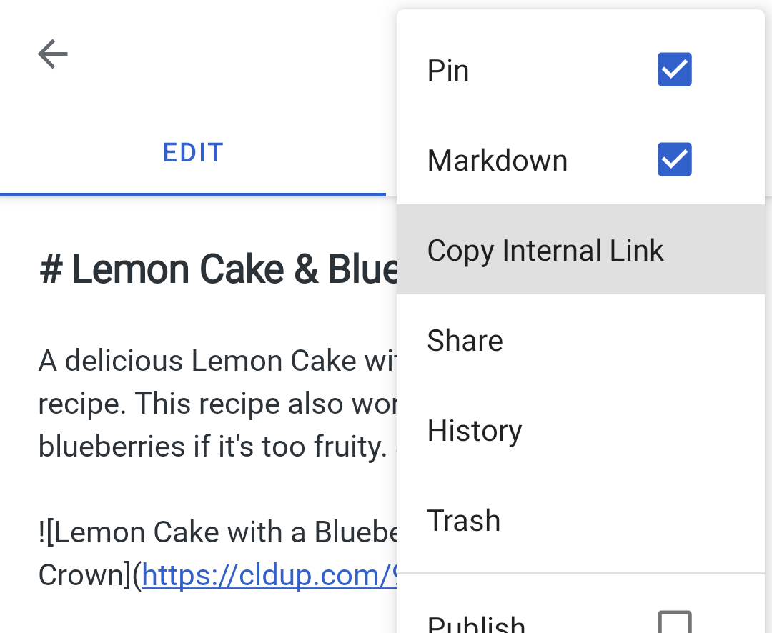 Copy a link from the ellipsis menu on Android
